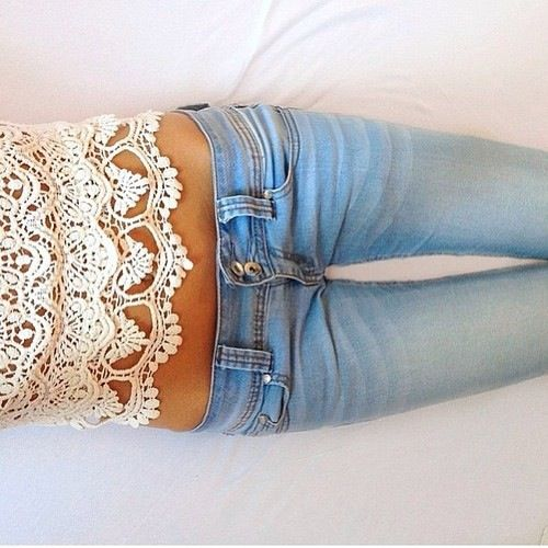 Lace and jeans.