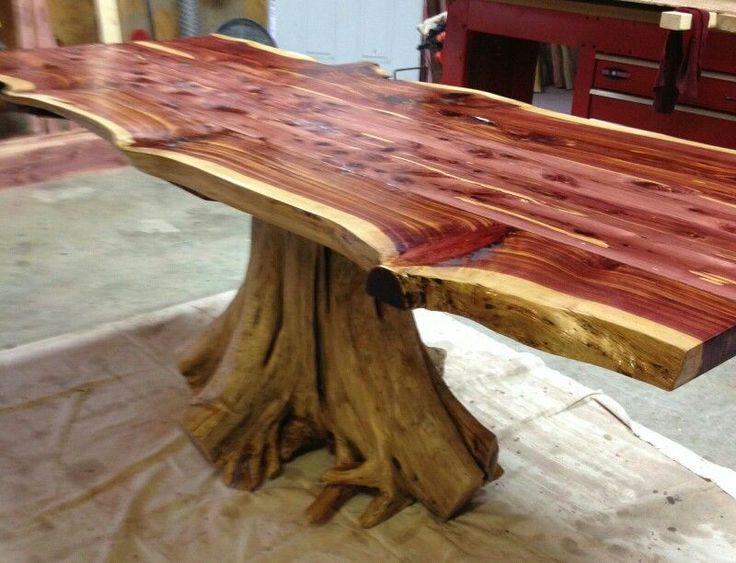 Live Edge Cedar Stump Style Dining Table Epoxy Wa In