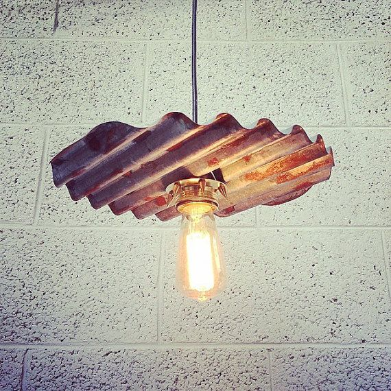 Swell Ceiling light made from Corrugated metal/ tin. OOAK pendant light with rustic industrial look