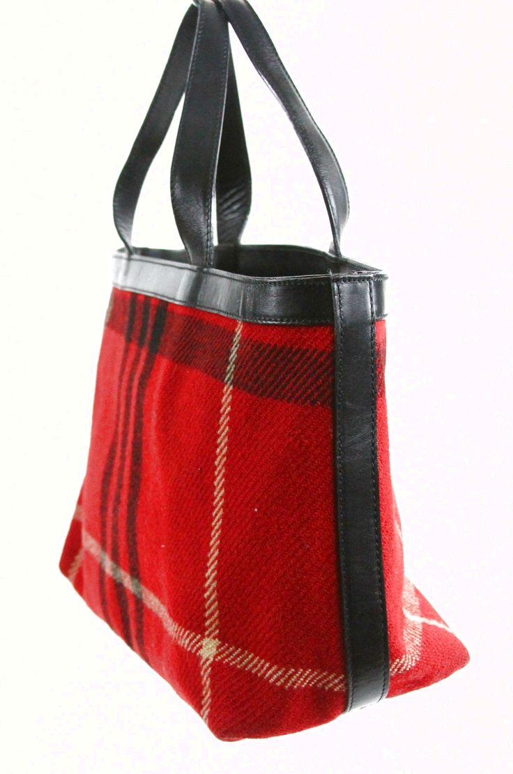 Burberry London Fire Engine Red Tartan Rectangular Tote Shopped Purse Bag $45.0