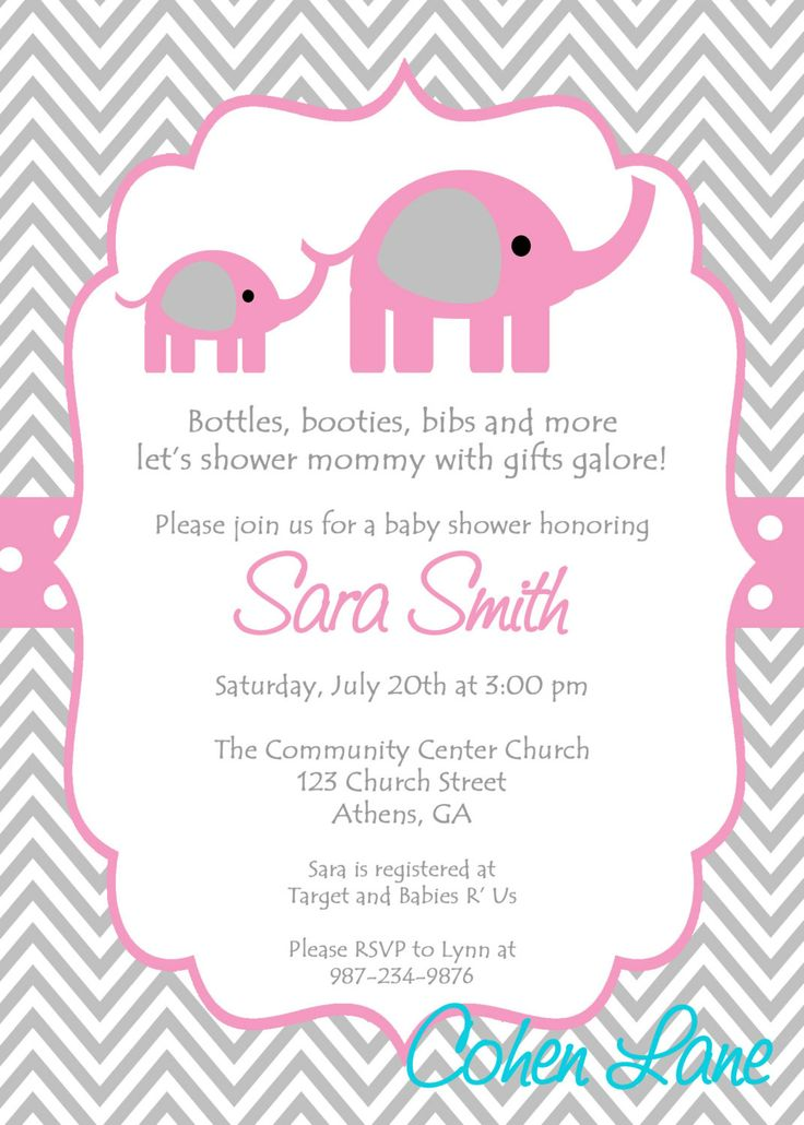 The 25+ best Pink elephant ideas on Pinterest 1st birthday - Free Baby Invitation Templates