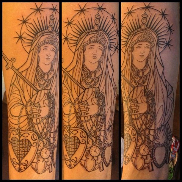 Started this one today on @pepitolovesfrida really fun piece. #virgin #catholic #tattoo #religious