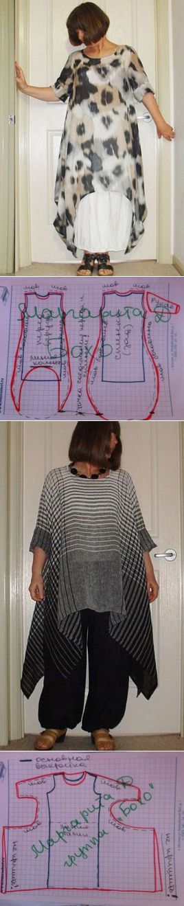 How to draft a #sewing pattern for two different types of tunic. One has a…