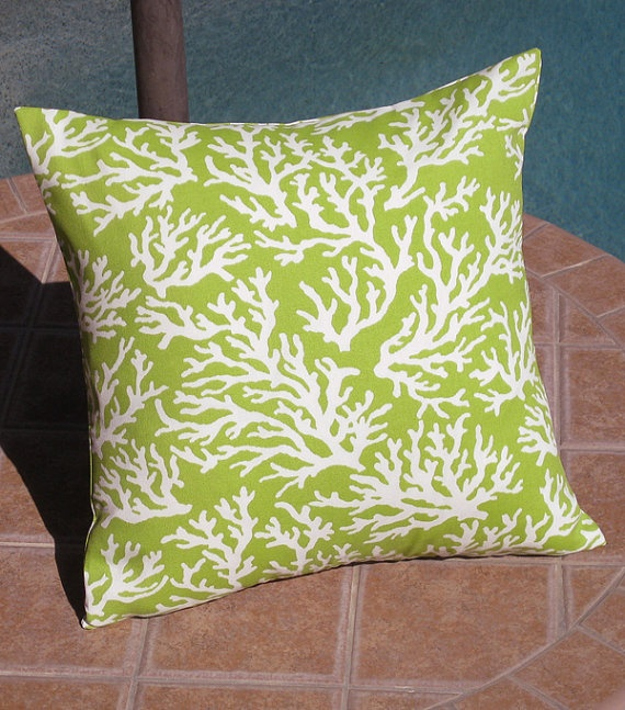 Outdoor Lime Green Coral Patio Throw Pillow Cover By