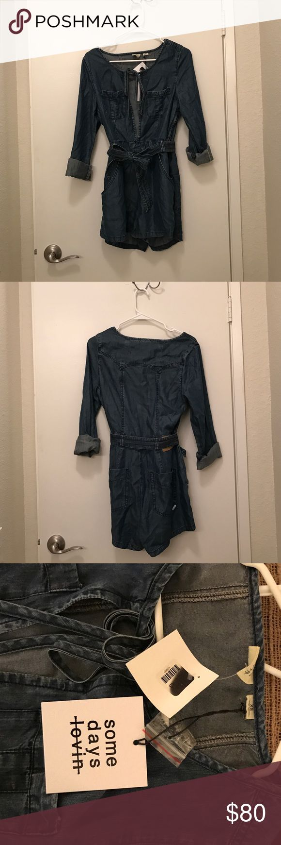 Blue Jean Romper Long sleeved, blue jean Romper. Never been worn. Has the tags still attached. It ties up in the front on the waist and chest. Also has clips to button up in the front. Super cute for the summer! Somedays Lovin Other