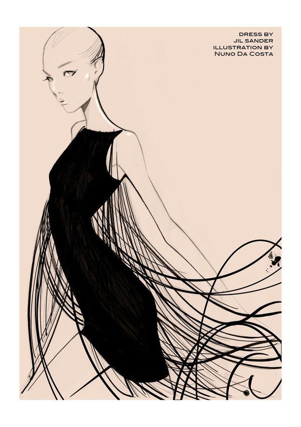 Wow I love fashion drawings, and this one is beautiful!  Nuno Da Costa #fashion  #illustration