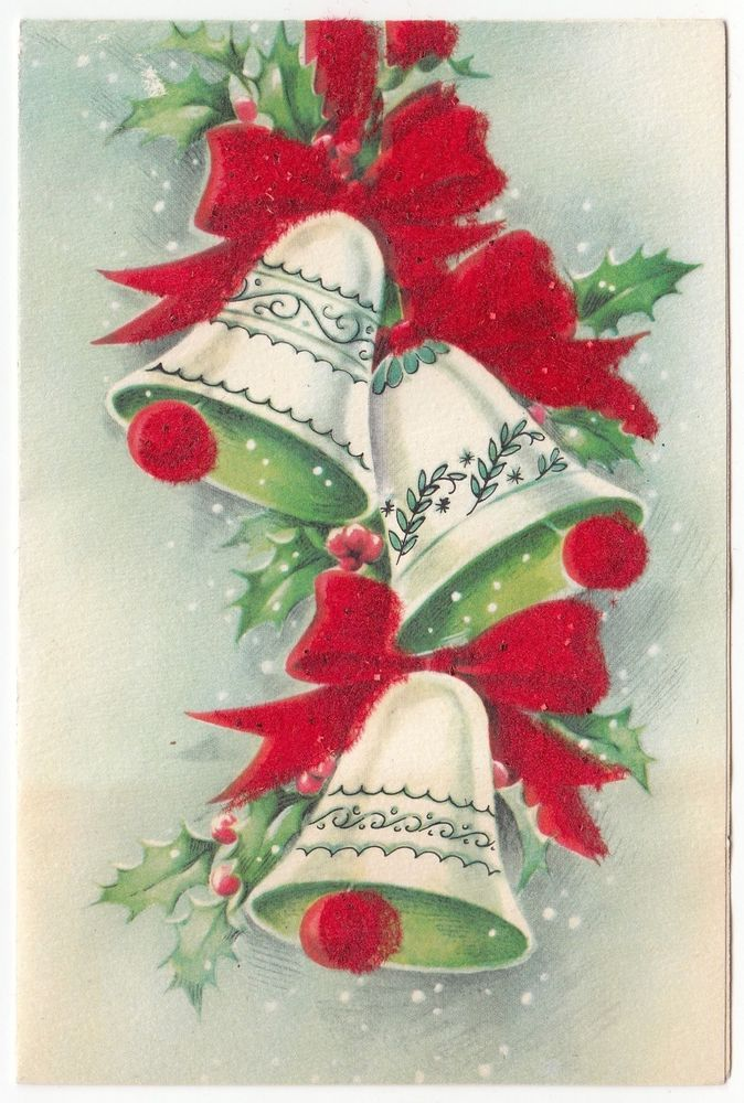 Vintage Greeting Card Christmas Bells Red Flocked Bows Mid-Century L35