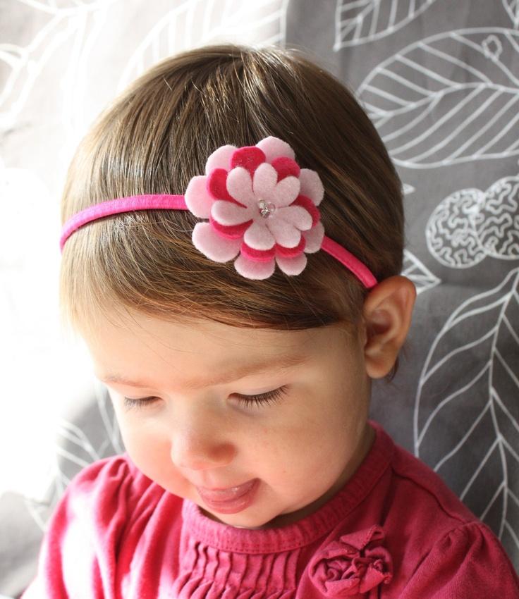 Pink Headband - Headband for Toddlers - Pink Felt Flower - Hairband