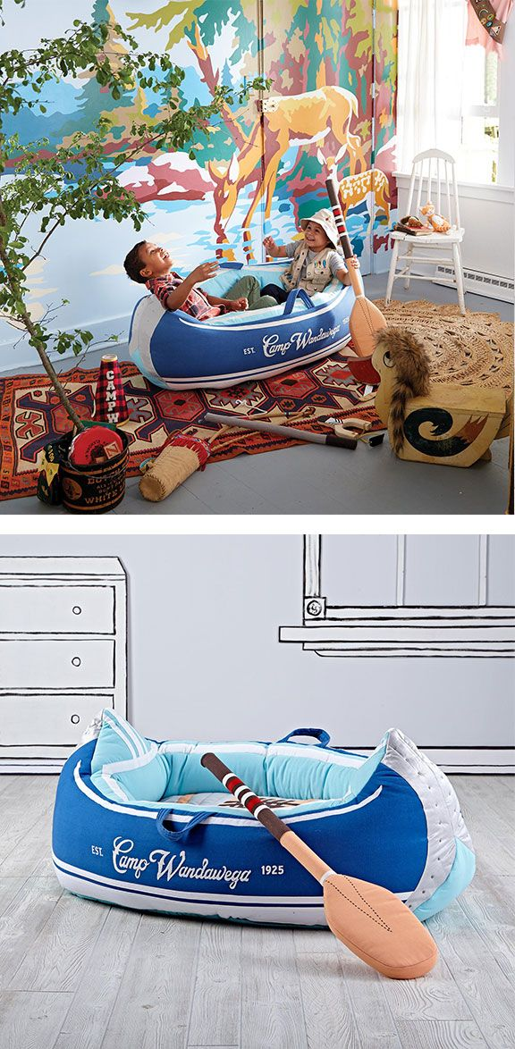 A make-believe outdoor excursion isn't complete without The Land of Nod's Day Trip Plush Canoe. Spend hours pretending to paddle down roaring rapids with the help of an ultra plush canoe and oar. Part of The Land of Nod's exclusive Camp Wandawega for Nod Collection.