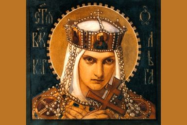 Princess Olga of Kiev (aka Saint Olga)  Buried 20 men & ships alive in 20ft hole.  Burned men alive in baths  Feasted then had birds from each home carry a candle home to burn down city Drevlya  Sainted christian   Olga of Kiev by Bruni Nikolai Alexandrovich (19th century)