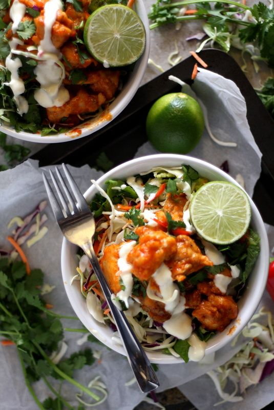 Korean Fried Chicken Salad with Creamy Honey-Sesame Dressing Recipe by Drool-Worthy