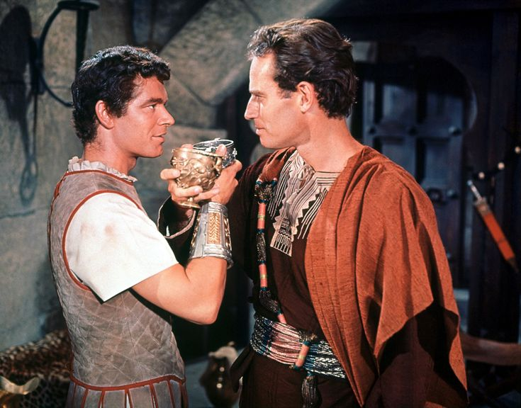 Charlton Heston and Stephen Boyd in Ben-Hur directed by William Wyler,1959