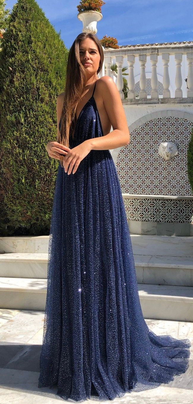 Lp1452 Bespoke Navy A Line Sparkly Deep V Neck Strapless Tulle For A Glamorous Ball Gown 1 Our Email Addre Prom Dresses Blue Prom Dresses Pretty Prom Dresses [ 1358 x 650 Pixel ]