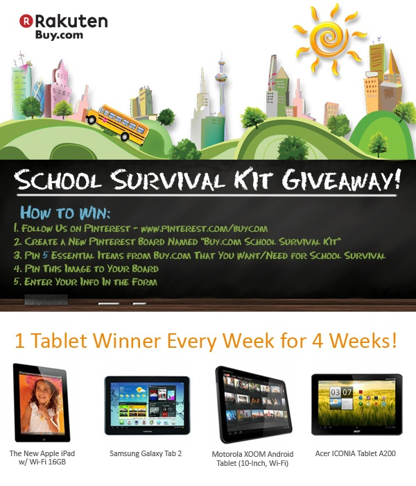 We are giving away 1 tablet per week for the next 4 weeks! Join the #BackToSchool Pinterest contest and repin this image to start - #Buycom
