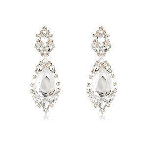 Silver tone gemstone statement earrings