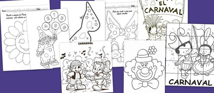 Carnaval: Fichas para trabajar y colorear