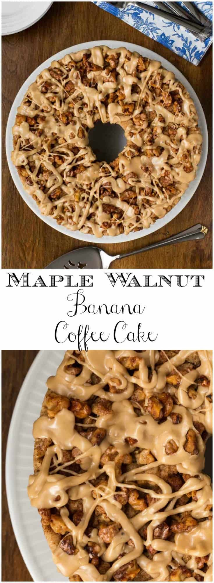ThisMaple Walnut Banana Coffee Cake will be the shining star of any breakfast or brunch buffet and comes together easily, without pulling out the mixer! via @cafesucrefarine