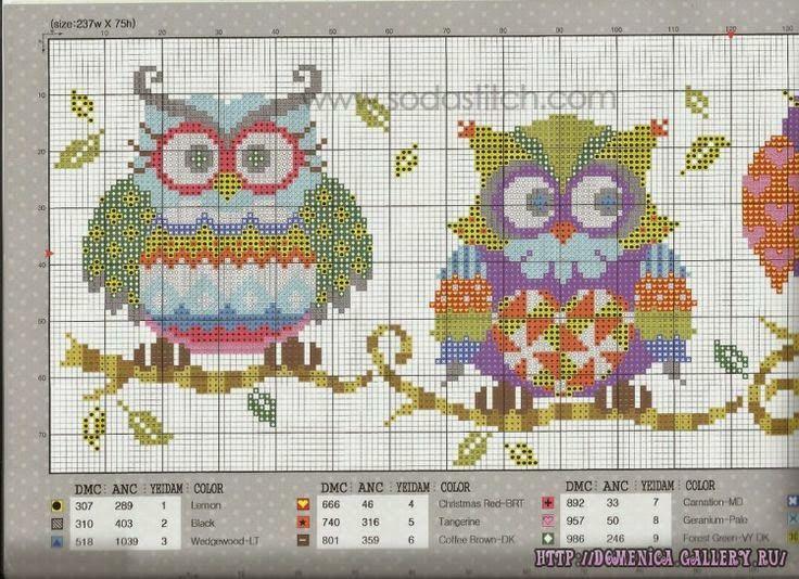 Schema punto croce gufi colorati hobby lavori femminili for Ricamo punto croce schemi gratis