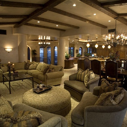 Great layout for massive living room! Mediterranean Living Room Design, Pictures, Remodel, Decor and Ideas - page 18