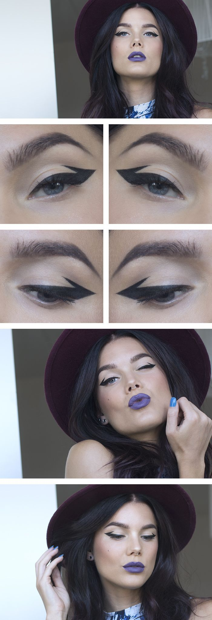 Double flick eyeliner and statement purple lips bang on trend and quick to achieve for #AW14...x #edgymakeuplooks