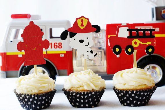 Firetruck Party Decorations by http://pinwheellane.etsy.com