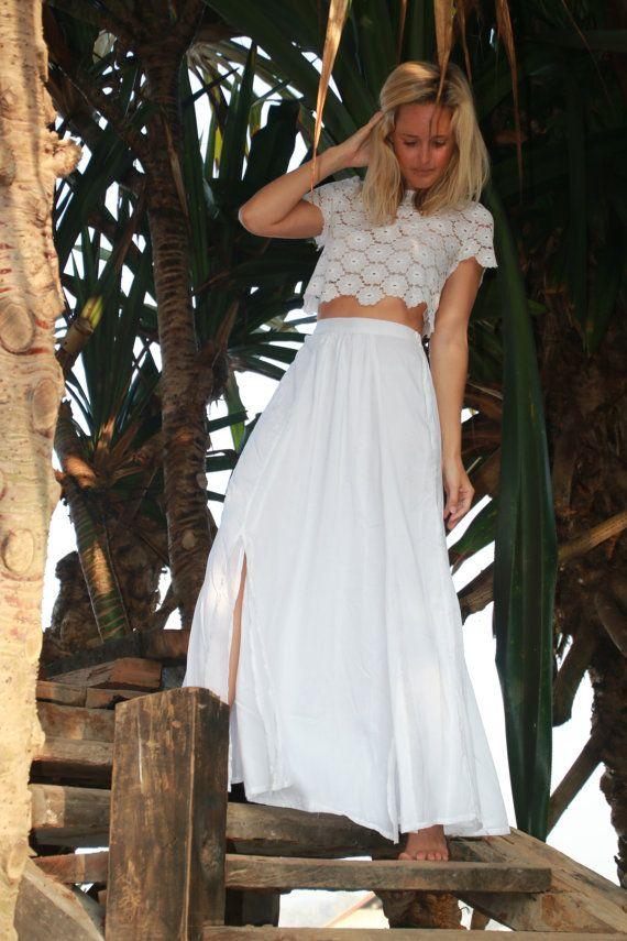 White Maxi Split Skirt  High Side Splits with Side by ljcdesignss