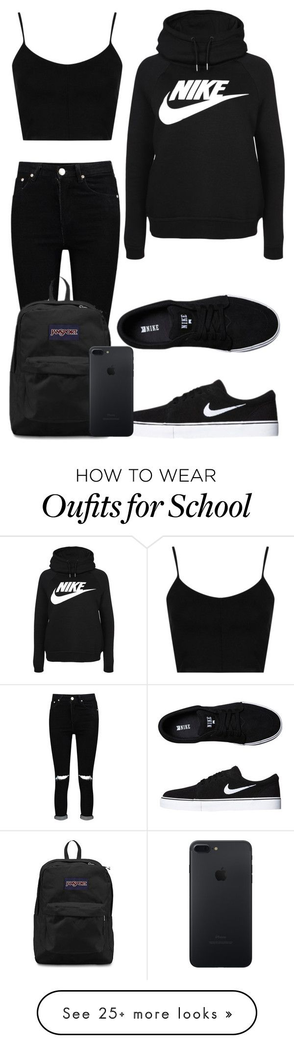 """Tuesday School"" by kellyaguilera on Polyvore featuring Topshop, Boohoo, NIKE, JanSport, casual, school and teen"