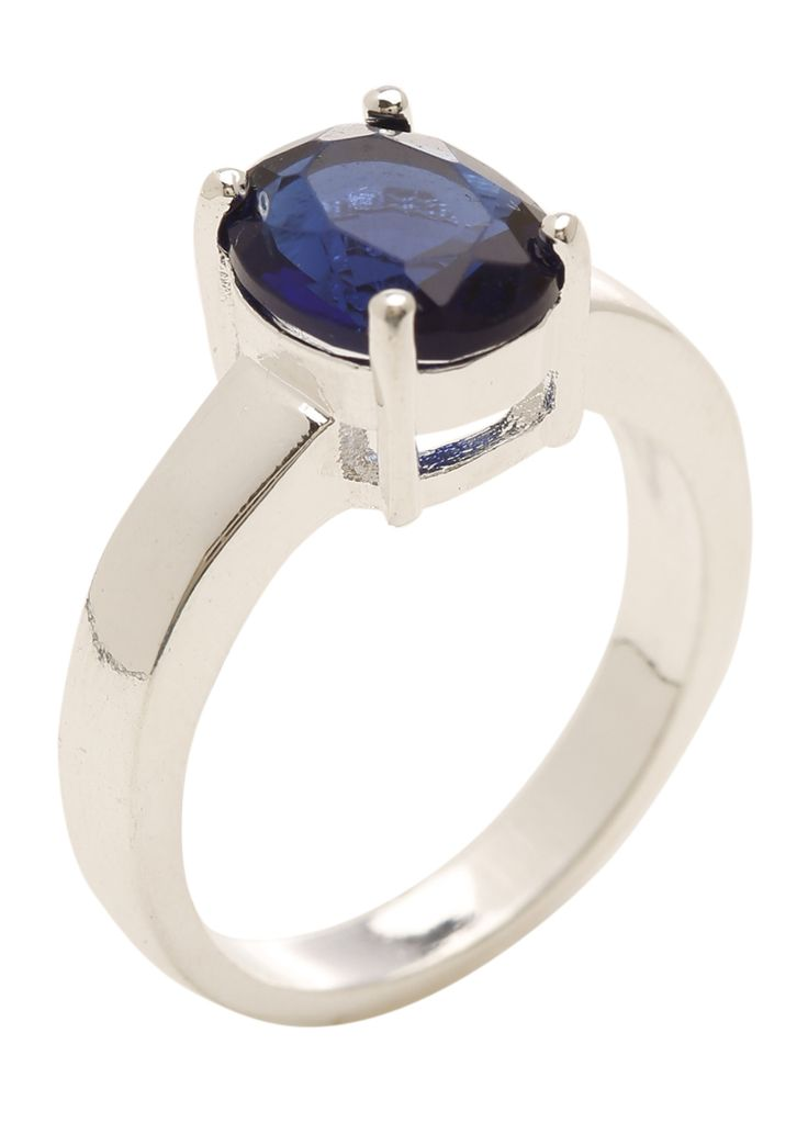 15AUD+shipping Blue Cubic Zirconia stone Ring Designer: MARNIJINAKO / Material: 925 Sterling Silver / Measuring 8mm x 10mm