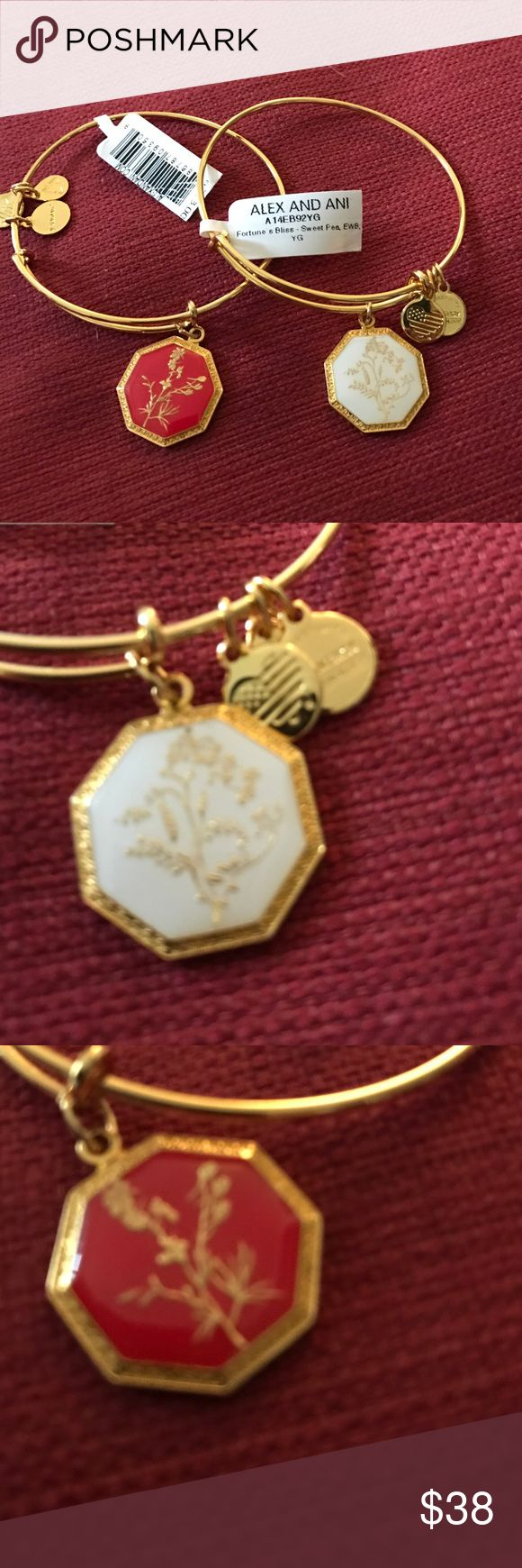 💕Rare💕 Alex and Ani bracelets Alex and Ani shiny gold red Larkspur and shiny gold and white Seeet Pea bracelet. Both new with retail tags Alex & Ani Jewelry Bracelets