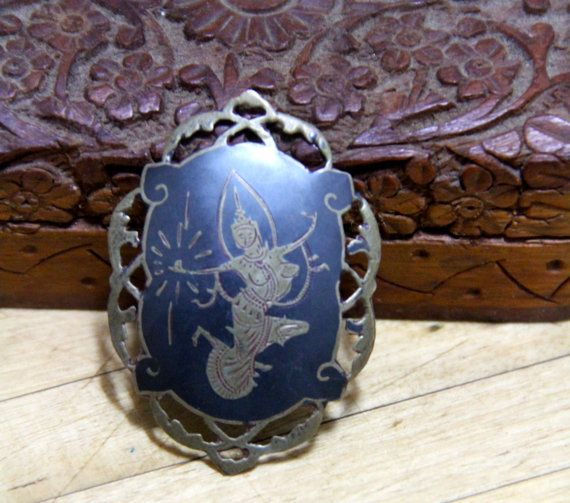 Vintage Sterling Silver black enamel brooch Siam Goddess of