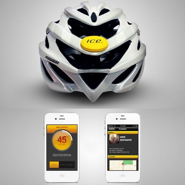 Accident recording cycle helmet