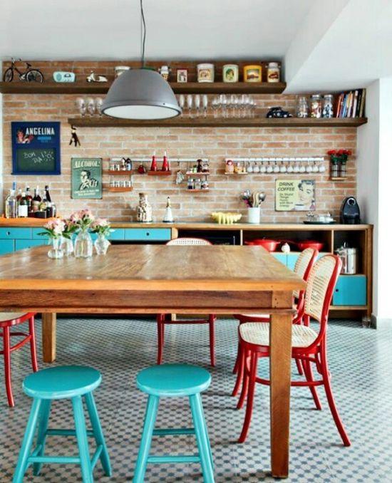 vintage cocina realmente hermosa sueo con paredes de ladrillo