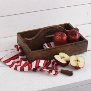 Antique Wooden Cutlery Tray w Handle