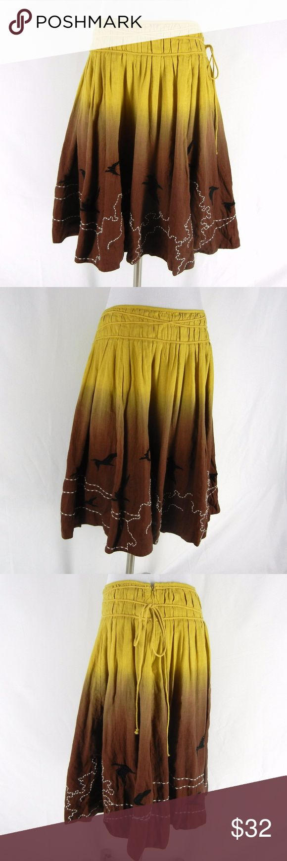 """LITHE Anthropologie Pleated Ombre Linen Skirt 12 LITHE by Anthropologie stylish 100% linen full pleated skirt.  Ombre effect, embroidered flying birds design, fully lined, flat waist, side zip, no pockets.  Excellent condition with no flaws.  Dry clean only.  Tagged Size 12, please check measurements to determine fit.  34"""" waist, 50"""" hips, 24"""" long. Lithe Skirts A-Line or Full"""
