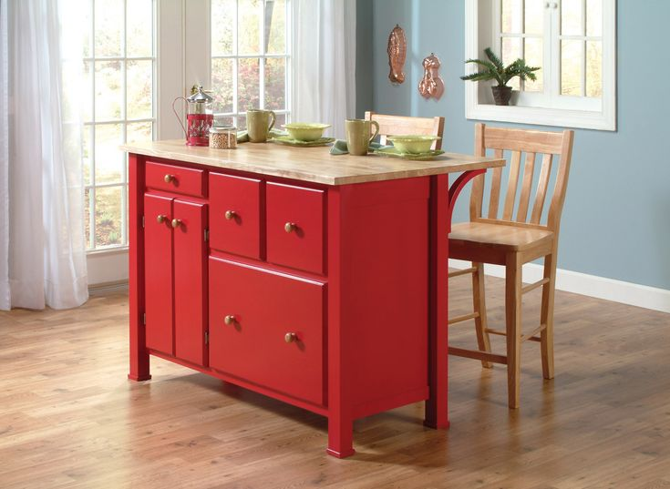 Captivating John Thomas Select Kitchen Island By Whitewood In Red Pepper