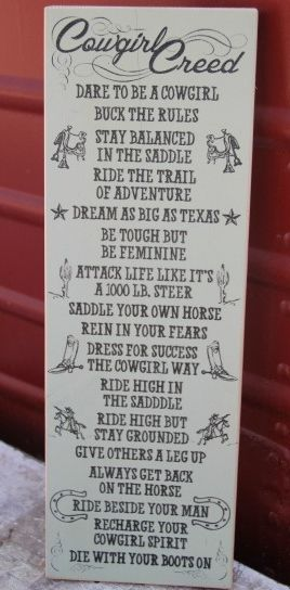 """Cowgirl Creed"" Wood Hanging Western Sign"