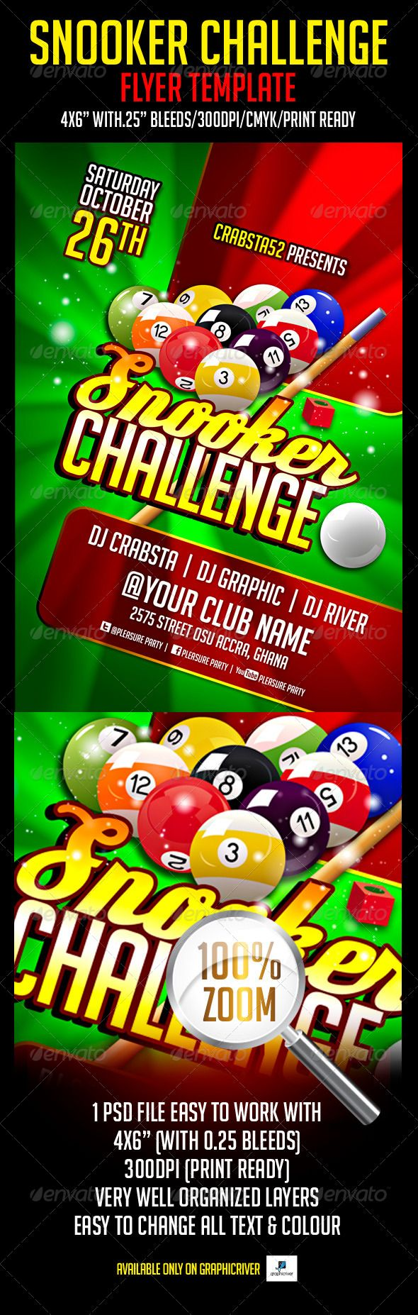 Snooker Challenge Flyer Template (Print Templates)