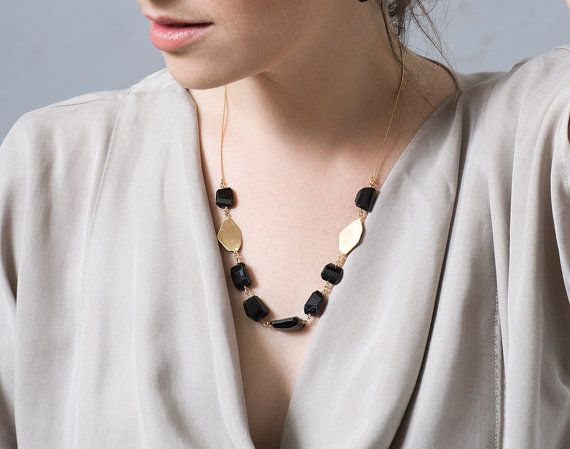 SALE 50% OFF Gold Onyx Necklace  Chunky Gemstone by CONTOURstudio