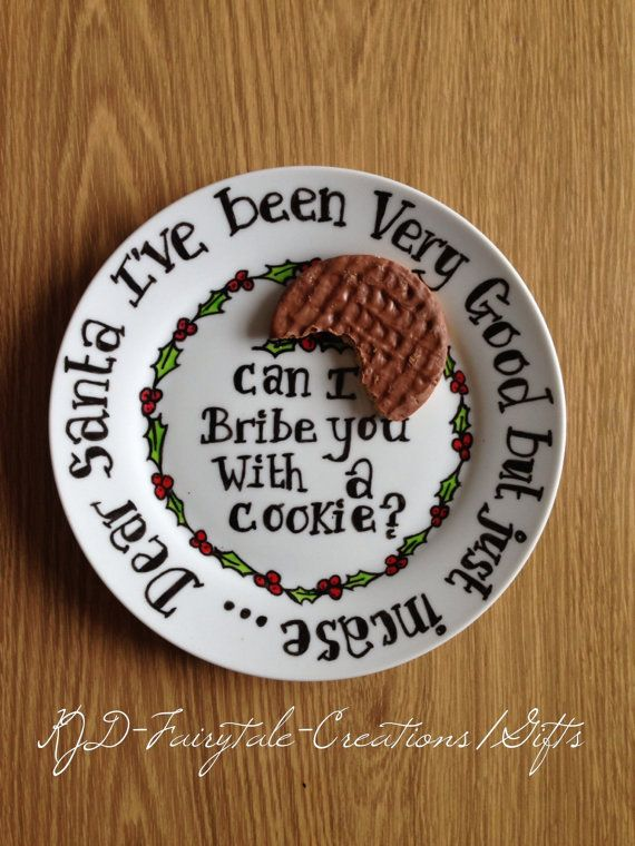 Novelty Christmas plate by KJFairytaleCreations on Etsy, £13.99