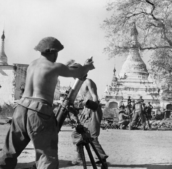 The Burma Campaign 19411945 The Campaign in Mandalay February March 1945 British mortars in action during the fighting for Meiktila 28 February 1945
