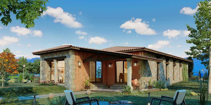 Plano de casa de 3 dormitorios con dise o rustico casa for Ranch rustico