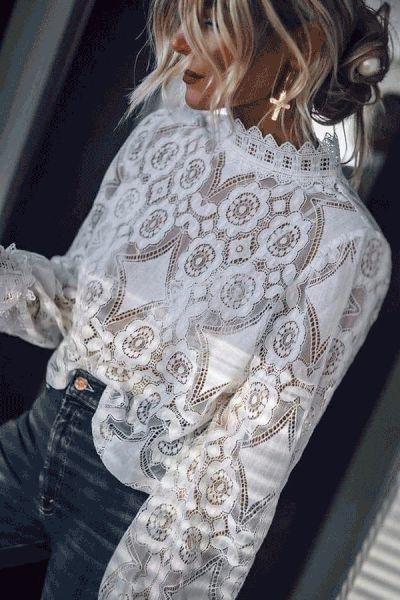 Fashion Lace Splicing Long Sleeve Shirt