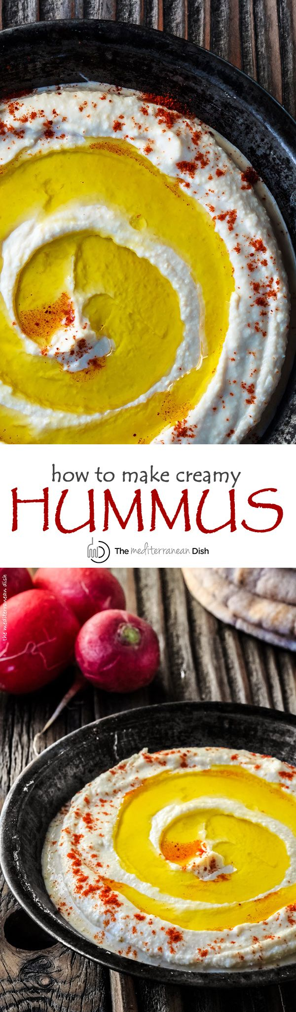 How to Make Traditional Creamy Hummus. Learn the secrets to the creamiest, most authentic hummus bite you'll have. Step-by-step pictures included. Once you try this recipe, you won't go back! http://www.themediterraneandish.com/how-to-make-hummus/