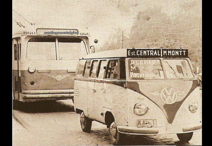 https://flic.kr/p/5UyYpd | la liebre m montt  1958, despues fue la Montt Cerrillos, cuyo nombre oficial era T/01-M.Montt-Cerrillos | subiendo por la Alameda frente al Cerro Santa Lucia,  el trolebús 814 es Pullman-Standard