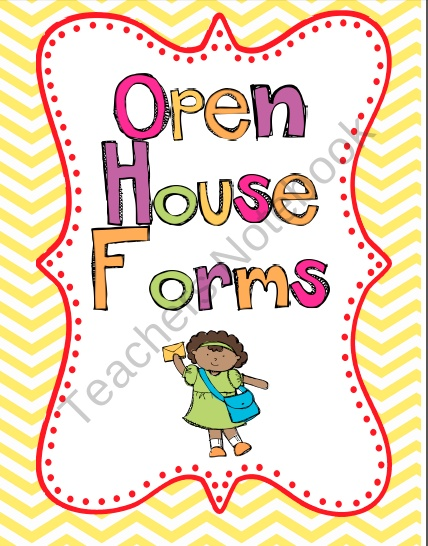 Open House Forms product from Simply-Second on TeachersNotebook.com