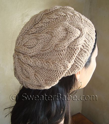 Knit Beanie Pattern Ravelry : #105 Slouchy 2-Way Cabled Hat pattern by SweaterBabe Ravelry and Cable