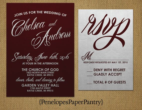 Burgundy and Silver Wedding Invitations, Elegant,Cursive Script,Modern,Shimmery,Silver Paper,Opt RSVP,Customizable,With Envelopes,5x7.