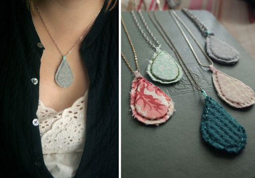 A simple necklace made of fabric; I have quite a few scraps in nice prints that I'd like to try this with.