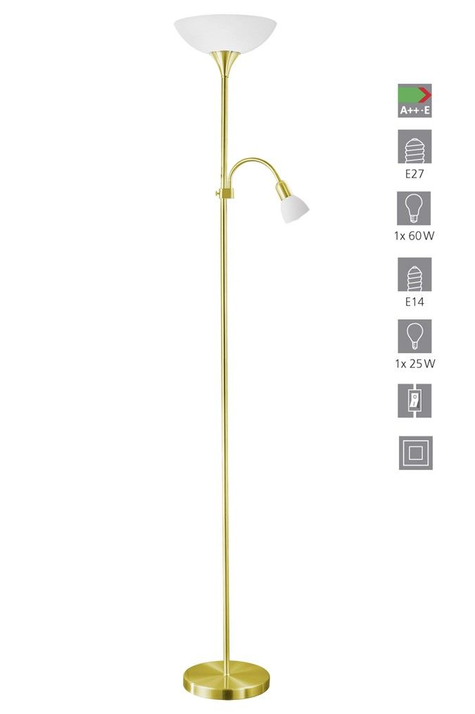 Ağırlık:4,33 KgYükseklik:1765 mmÇap (Ø):275 mmTaban Çap (Ø):230 mmMax Güç ( 1. Ampul):1 x 60 Watt1. Ampul:E-27Max Güç (2. Ampul):1 x 25 Watt2. Ampul:E-14Ampul Ürüne Dahil mi ?:HayırEnerji Sınıfı:A++EAna Materyal:ÇelikAna Renk:Saten PirinçCam/Şapka Materyali:Plastik CamCam/Şapka Rengi:BeyazAnahtar:Sıralı Anahtar