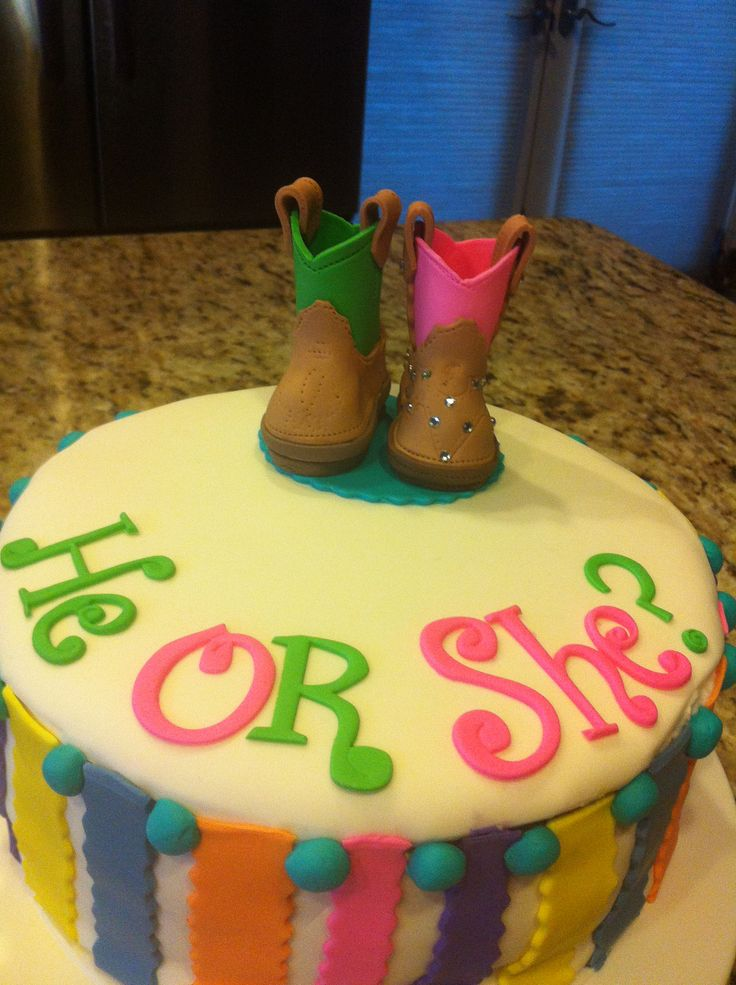 Baby gender reveal cake. I love the little boots!